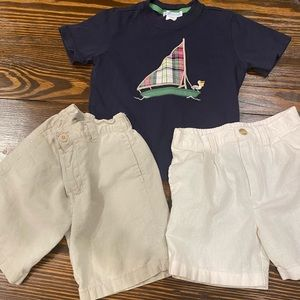Boys Janie and Jack top w/two pair of linen shorts